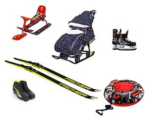 Зимние товары, санки, лыжи, коньки, тюбинги
